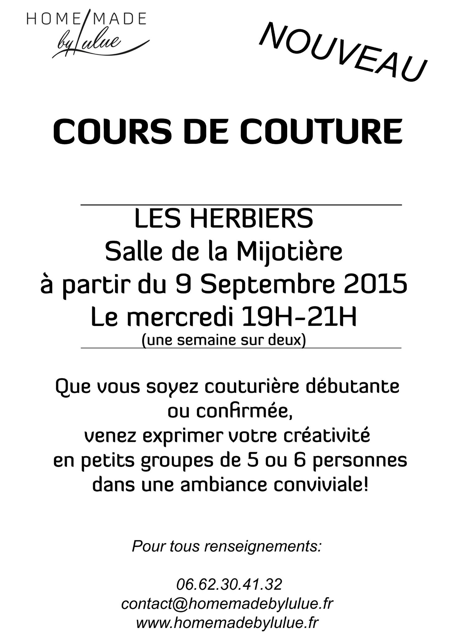 NOUVEAU – Cours de couture